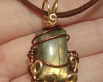Small Wire Wrapped Golden Fire Labradorite Pendant Necklace