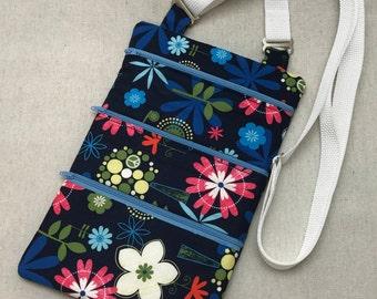 Blue Floral Crossbody Bag Handmade Blue Floral Cotton Crossbody Bag Shoulder Bag Purse