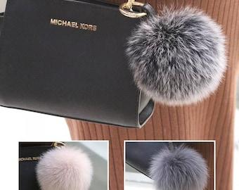 Fox Furry Puffs Bag Charm Pom Pom Keychains Handbag Charm Pom Poms Keyring