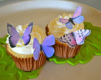 EDIBLE Butterfly The Original - Small Purples - Cake & Cupcake toppers - PRECUT and Ready to Use