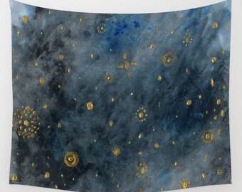 Night Sky Stars Wall Tapestry, sky wall tapestry, star wall tapestry, night sky tapestry, dark blue tapestry, stars tapestry, constellation