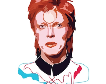 David Bowie - Art Print - Music Print - Androgynous Print - Colourful Print