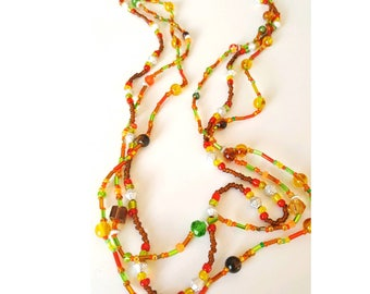Autumnal multistrand necklace, beaded cluster necklace, autumn jewelry, autumn necklace, multistrand necklace, long length beaded necklace