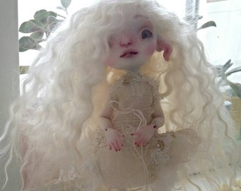 White Jasmine Mohair Wig for Fenix Blue Butterfly BJD