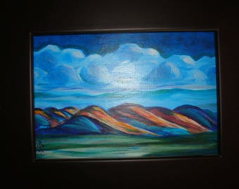 Clouds over Mountains. Original Painting Folk Art
