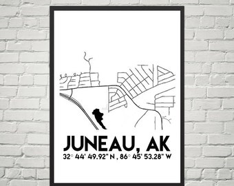 Map Poster of Juneau, Alaska (Instant Download)