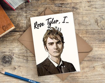 Doctor Who Valentines Card | David Tennant Valentines Card | Rose Tyler, I....