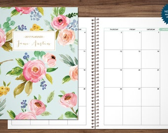 2018 MONTHLY planner / 12 month calendar / choose your start month / 2018 2019 month at a glance planner / blue pink gold watercolor floral