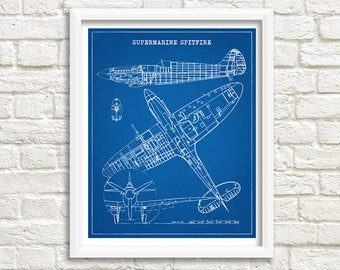"Spitfire Blueprint, Spitfire Decor, Aircraft Blueprint, Instant Download, Spitfire Airplane Blueprint, Aviation Art, 8x10"", 11x14"""