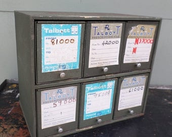 ON SALE Industrial, Storage, Pharmacy, Cabinet, Grey, Vintage, Prescription File Cabinet, Office, Medical, Oddities, Talbott, Aurora Illinoi