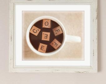 Coffee Artwork | Kitchen Art | Office Decor | Caffeine Junkie Print | Gift for Her | Coffee Mug | Scrabble Tiles Artwork | Coffee Letters