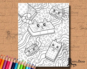 INSTANT DOWNLOAD Ice Cream Cat Sandwiches Coloring Print, doodle art, printable