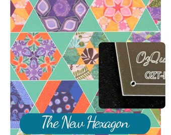The New Hexagon 34 Piece Patchwork Template Set for hand & machine piecing