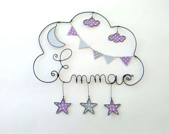 "Child's name in wire core customizable ""Walk under the Moon and stars"", decor room"