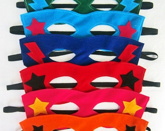 1 Pack 8 Masks Made to Order / mask super hero / super hero mask / costume party masks children / handmade / kids party / fun /