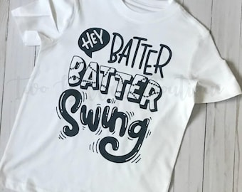 Hey Batter Batter shirt - Boy's Baseball shirt - Baseball shirt - Kid's Baseball Shirt - Girl's Baseball shirt