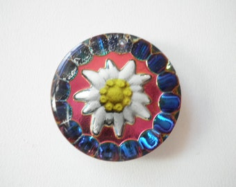 Vintage West German Sunflower AB Iridescent Reverse Painted Intaglio Glass Pendant 25 mm