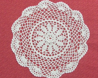 Vintage 11 Inch Hand Crocheted White Cotton Flower Rosette Doily