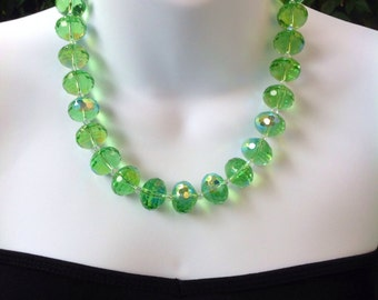 ON SALE! Green Crystal Necklace. Large 16mm Green crystal necklace. Light peridot green crystal necklace.
