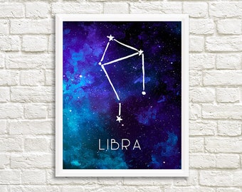 Libra Constellation, Zodiac, Sign, Stars, Galaxy, Space, Outer Space, Horoscope, Watercolor, Print - Digital File Only