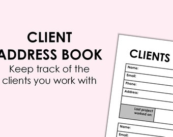 Client Address Book - printable download A4 size (can be scaled to A5, or Letter)