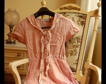 Cute Sailorette Collar Pink Flowery Dress