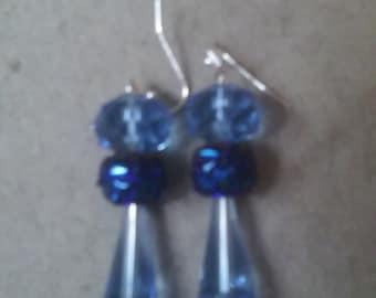Light Blue and Cobalt Blue Artemis Beaded Earrings