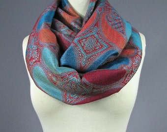 Mothers day gift Scarves for Women Orange Infinity scarf Circle scarf Girlfriend Gift Womens scarves Gift for her Floral Paisley scarf