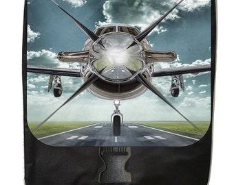 Airplane on the Runway - Large Black School Backpack