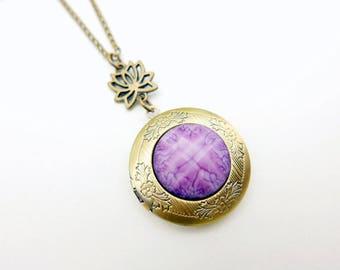 Lotus locket Necklace Jewelry  2020m