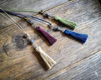 Bohemian chic Tassel necklace Labradorite stone pendant in Beige boho jewelry by Creations Mariposa