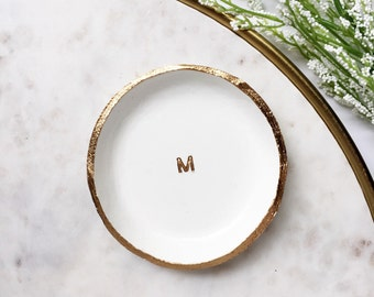 MINIMALIST MONOGRAM // Clay Ring Dish, Trinket Dish, Jewelry Dish, Personalized Gift Idea