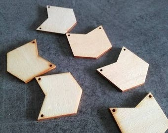 Wooden beads flat connector shaped geometric natural color