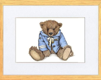 Hello Sailor Bear Picture Oak Framed Print Wall Art By Kevin Wood 2 Sizes Uk Artist