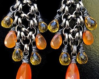 Multi Gemstone Dangle Earrings | Carnelian and Lemon Quartz Earrings | July birthstone