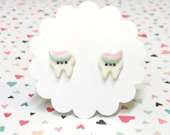 Dental Hygienist- Dentist Gift-  Happy Tooth Earrings - Hypoallergenic - Nickel Free Earrings - Cute Stud Earrings - Nylon Posts