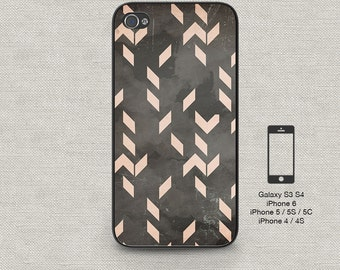 Cell phone case iphone 6 Distressed Pink Chevron 156