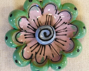 Mint Green and Pink 3D Handmade Flower Bloom