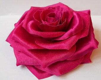 Hot Pink Magenta Silk Flower Rose Brooch and pocket square