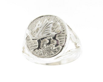 Sterling Silver Men's Welsh Dragon Oval Signet Ring - Sizes - R - Z - US Sizes 8.5 - 12.5