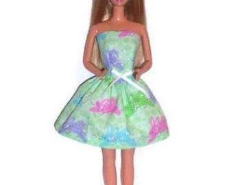 Fashion Doll Clothes-Glittery Bunny Print Strapless Party Dress