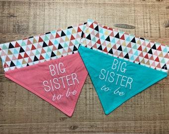 Ready to Ship Big Sister Dog bandana/Over the collar bandana/Puppy bandana/ Pregnancy announcement/slip over collar/Teal Big sister bandana