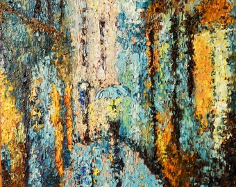 Abstract. Original Large Oil Painting .Rain in the city