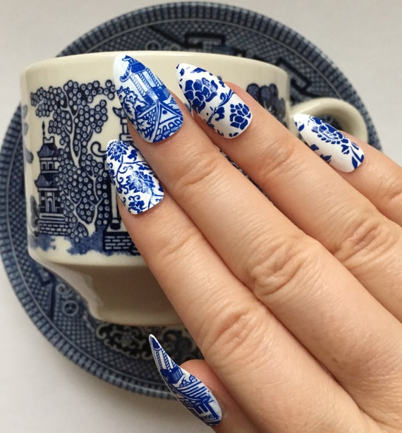 Blue Willow Nails | China Pattern Nails | Blue and White Pottery ...
