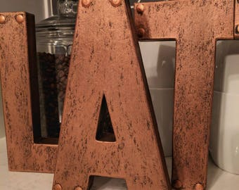 """Industrial Copper Faux Metal Letters and Numbers - 8"""" or 12"""""""