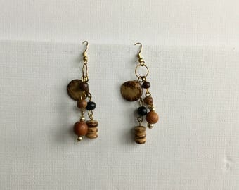 Dancing Wooden Beads Dangling Drop Earrings