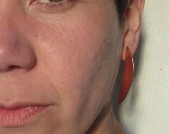 Long Copper Earrings. Copper Half Moon Earrings.  Handmade Earrings.