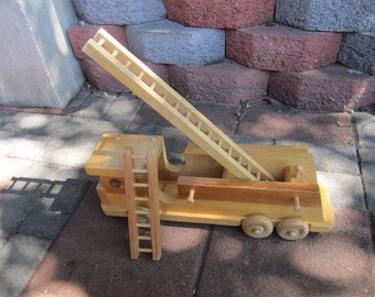 Wooden Fire Engine. Wooden Toy Fire Engine. Wooden Toy. Fire Fighter. Ladders. Wooden Vehicle.