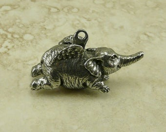 Flying Elephant Green Girl Charm Pendant - Winged Pachyderm Sacred Wise Mammoth Animal - American Artist Made Lead Free Pewter Silver 206