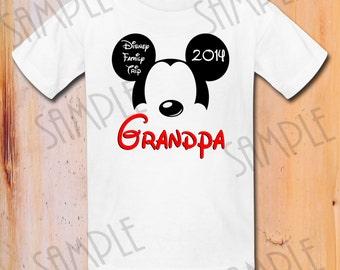 Disney Family Vacation T Shirts Iron On Transfer Printable Grandpa Trip To Disneyworld Digital Download Mickey Ears Shirt